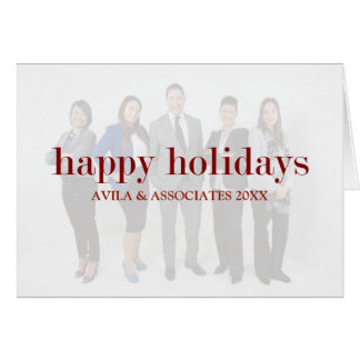 Personalized Modern Happy Holidays Red Text Card