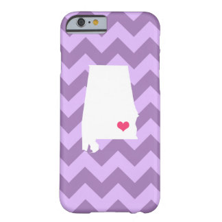 Personalized Modern Lilac Chevron Alabama Heart Barely There iPhone 6 Case