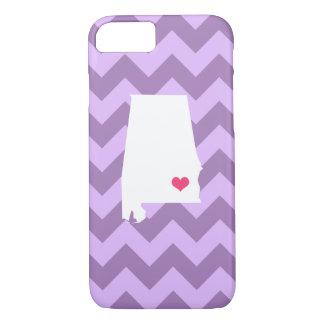 Personalized Modern Lilac Chevron Alabama Heart iPhone 7 Case