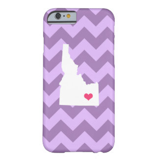 Personalized Modern Lilac Chevron Idaho Heart Barely There iPhone 6 Case