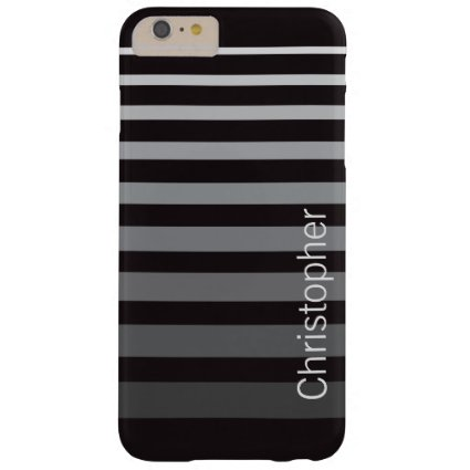Personalized Modern Monochrome Gradient Stripes Barely There iPhone 6 Plus Case