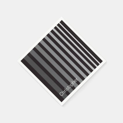 Personalized Modern Monochrome Gradient Stripes Standard Cocktail Napkin
