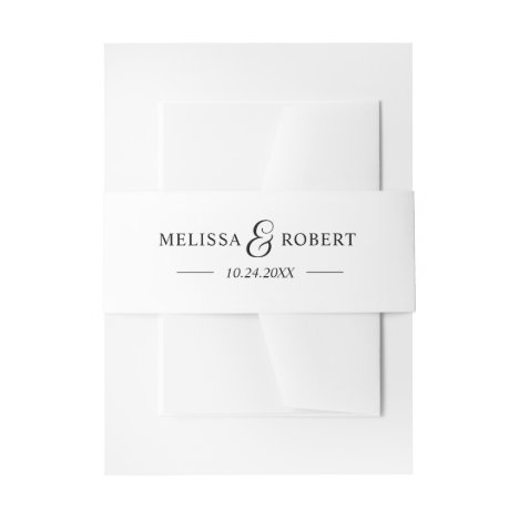 Personalized Modern NAME Black & White Wedding Invitation Belly Band
