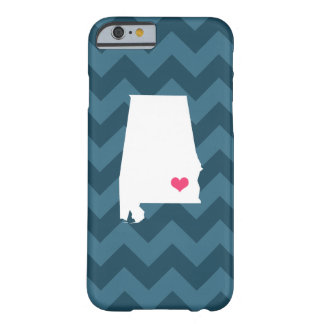 Personalized Modern Navy Chevron Alabama Heart Barely There iPhone 6 Case