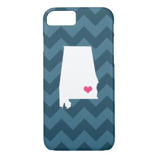 Personalized Modern Navy Chevron Alabama Heart iPhone 7 Case