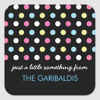 Personalized Modern Neon Polka Dots Gift Tags Square Sticker