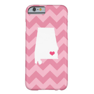 Personalized Modern Pink Chevron Alabama Heart Barely There iPhone 6 Case