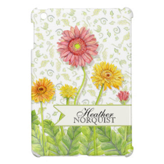 Personalized Modern Plaid Pink Gerber Daisy Flower Case For The iPad Mini