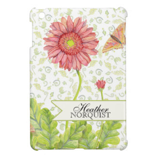 Personalized Modern Plaid Pink Gerber Daisy Flower iPad Mini Cover