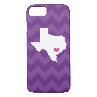 Personalized Modern Purple Chevron Texas Heart iPhone 8/7 Case