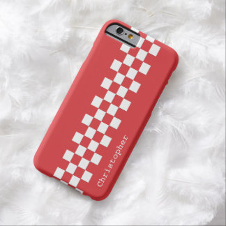 Personalized Modern Racing Checks Red and White Barely There iPhone 6 Case