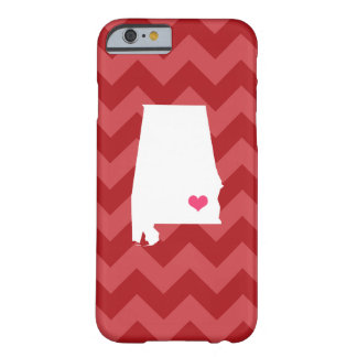 Personalized Modern Red Chevron Alabama Heart Barely There iPhone 6 Case