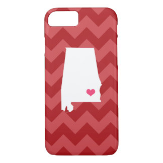 Personalized Modern Red Chevron Alabama Heart iPhone 7 Case