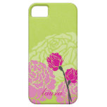 personalized modern rose design pink lime green iPhone 5 case