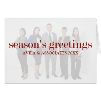 Personalized Modern Season's Greetings Red Text Card