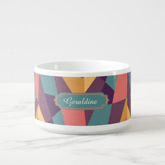 Personalized Modern tangram and dots pattern Bowl