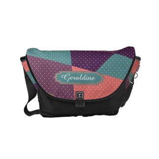 Personalized Modern tangram and dots pattern Small Messenger Bag