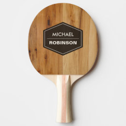 Personalized Modern Wood Grain Texture Ping-Pong Paddle