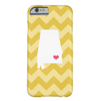 Personalized Modern Yellow Chevron Alabama Heart Barely There iPhone 6 Case
