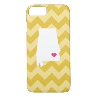 Personalized Modern Yellow Chevron Alabama Heart iPhone 7 Case