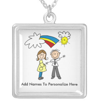 Personalized Mom and Dad To Be Necklace