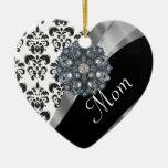 Personalized mom damask pattern christmas tree ornament