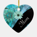 Personalized mom floral pattern christmas tree ornaments