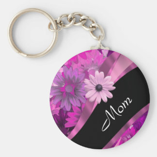 Personalized mom pink floral keychain