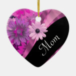 Personalized mom pink floral ornament