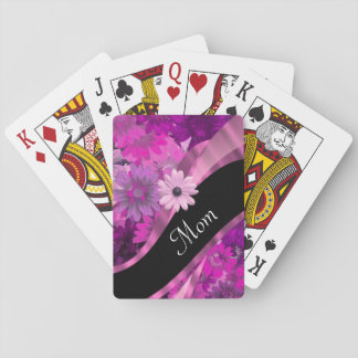 Personalized mom pink floral playing cards