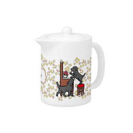 Personalized Mom's Black Lab Puppy Duo Floral