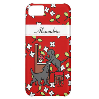 Personalized Mom's Black Lab Puppy Duo Floral Cover For iPhone 5C