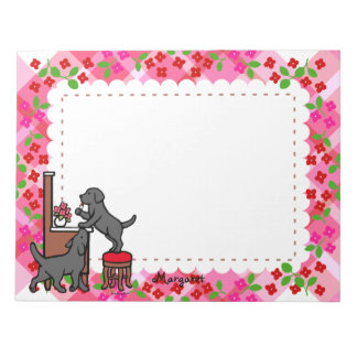 Personalized Mom's Black Lab Puppy Duo Notepad