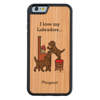 Personalized Mom's Chocolate Lab Duo Carved Cherry iPhone 6 Bumper Case