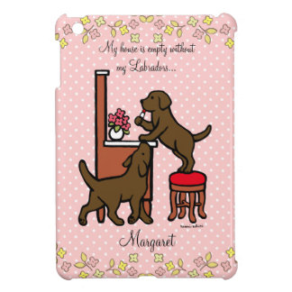 Personalized Mom's Chocolate Lab Puppy Duo Case For The iPad Mini