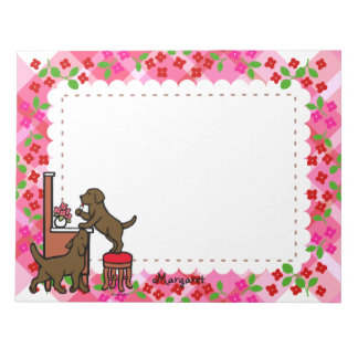 Personalized Mom's Chocolate Lab Puppy Duo Notepad