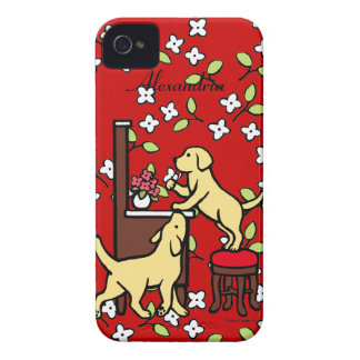 Personalized Mom's Yellow Lab Puppy Duo Floral iPhone 4 Case-Mate Case