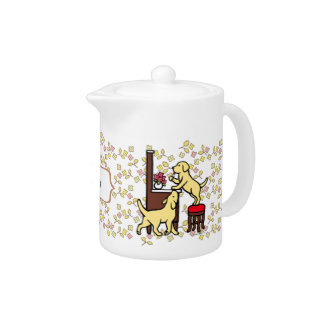 Personalized Mom's Yellow Lab Puppy Duo Floral Teapot