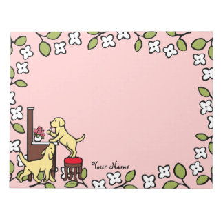 Personalized Mom's Yellow Lab Puppy Duo Notepad