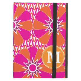Personalized Mongram Pink Orange Floral Pattern iPad Covers