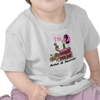 Personalized Monkey and Cake 2nd Birthday Tshirt