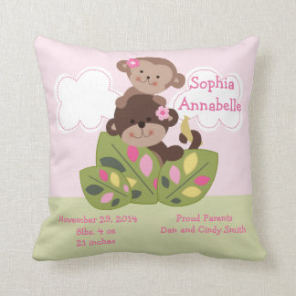 "Personalized ""Monkey Girl Sisters"" Keepsake Pillow"