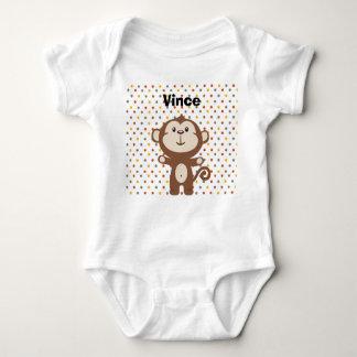 Personalized Monkey Infant Creeper, White Baby Bodysuit