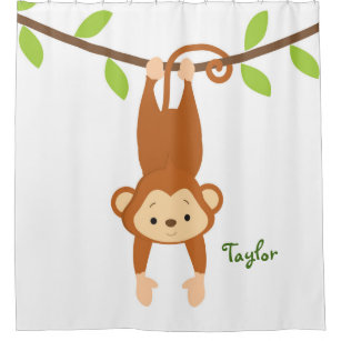 Personalized Monkey Kids Shower Curtain