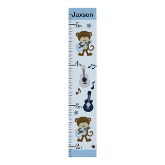 Personalized Monkey Rocker/Musical Growth Chart Poster