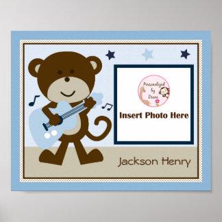 Personalized Monkey Rocker Star Photo Art Poster