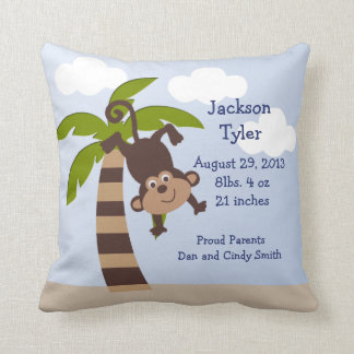 "Personalized ""Monkeying Around on Palm"" Pillow"