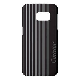 Personalized Monochrome Gradient Vertical Stripes Samsung Galaxy S7 Case