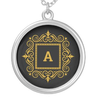 Personalized Monogram A Black and Gold Silver Plated Necklace
