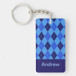 Personalized monogram A boys name blue argyle Double-Sided Rectangular Acrylic Keychain